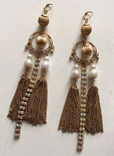 Vintage gold plated fancy dangling earrings with faux pearls, prongs ... Lot 86A