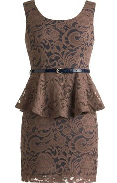 Cocoa Peplum Dress: Features a gorgeous embroidered lace exterior with contrast cotton liner for pop, flared peplum waist for a dramatic silhouette, glossy navy blue skinny belt, exposed rear zipper, and a beautiful sheath silhouette to finish.