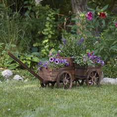 amish wagon planter wood wheel garden flower cart outdoor decoration pot bucket