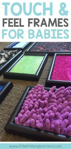 Touchy Feely Frames for babies and toddlers   DIY sensory play toy   make it yourself   items from around the house   household objects  