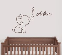 Personalized Elephant Wall Decal Nursery Decor Elephant size: 26.7 inches tall x 23 inches wide Name size: 5.5 inches tall >> In note to seller box please indicate the Name for your decal. Other sizes available upon request FREE SHIPPING