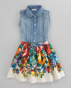 Denim Sleeveless Blouse & Fiori Colonna Floral Poplin Skirt by Dolce & Gabbana at Bergdorf Goodman.