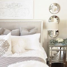 Dreamy nights are made of fabulous bedding! White, elegant master bedroom