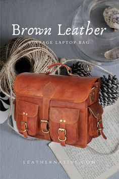 Our Men's Genuine Vintage Brown Leather Laptop Bag is made from genuine, strong, lightweight, durable goat leather, tanned without the use of chemicals. Brown Leather Laptop Bag, Small Leather Bag, How To Make Leather, Laptop Shoulder Bag, Great Gifts For Men, Leather Bags Handmade, Natural Leather, Goat, Strong