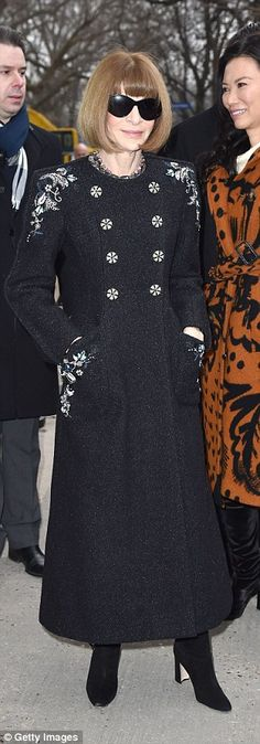 Fashionable arrivals:Ellie Bamber,Cecile Cassel and Anna Wintour (L-R) were in attendanc...