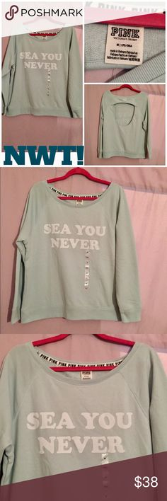 """NWT! PINK VS """"SEA YOU NEVER"""" OPEN BACK ⭐BRAND NEW WITH ALL TAGS!⭐PINK VS OPEN BACK PULLOVER WITH """"SEA YOU NEVER"""" IN WHITE ACROSS THE MINTY/SEA BLUE COLOR BACKGROUND. See pic #3 of a close up of the adorable writing. Open back area w/PINK in contrasting white above the opening-see pics #4 & #5. Matching leggings also available! ⭐NO I DO NOT TRADE OR APPRECIATE LOWBALL OFFERS!〰THANK YOU!⭐ PINK Victoria's Secret Tops Sweatshirts & Hoodies"""