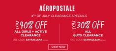 Online Only! Take extra 40% #off girls & active clearance   Extra 30% #off guys clearance.  Store : #Aeropostale Scope: Entire Store Ends On : 07/04/2017  Get more deals: http://www.geoqpons.com/Aeropostale-coupon-codes?code=EXTRACLEAR&_target=/referer/18114780  Get our Android mobile App: https://play.google.com/store/apps/details?id=com.mm.views    Get our iOS mobile App: https://itunes.apple.com/us/app/geoqpons-local-coupons-discounts/id397729759?mt=8