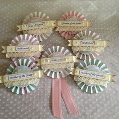 Pastel shades of our popular hen party rosette badges - £4.75 each - for a recent order #henparty #henpartybadges #henpartyrosettes #henpartygifts #henpartyaccessories #handmade