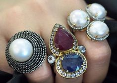 Diamonds & Pearls, Ruby & Sapphire - now that's how to make a statement!! ✨HAPPY DIWALI ✨ Ruby Sapphire, Happy Diwali, Gemstone Rings, Diamonds, Jewels, Jewellery, Instagram Posts, How To Make, Jewerly