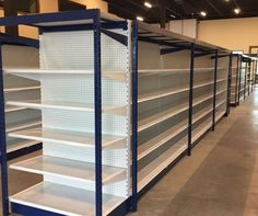 Contact Handy Store Fixtures for gondola shelving and retail store fixtures direct from the manufacturer. Since we have proudly served independent retailers with the highest quality retail store fixture displays. Supermarket Design, Retail Store Design, Mini Mercado, Gondola Shelving, Furniture Logo, Furniture Online, Retail Shelving, Custom Shelving, Store Fixtures