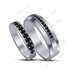 14K White Gold Finish 925 Silver Round Black Diamond Unisex Wedding Band Ring #bacio2jewel #MensWomensBandRing