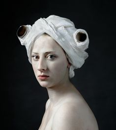 Hendrik Kerstens (Netherlands), Paper Roll, 2008 -portraits of his daughter, Paula -interest in Dutch painters of the c -a number of the portraits are clearly reminiscent of Johannes Vermeer -conceptual and humorous dialogue between past and present Der Ludwig, Fotografia Fine Art, Tableaux Vivants, Johannes Vermeer, Photocollage, Dutch Painters, Foto Art, Art Graphique, Everyday Objects