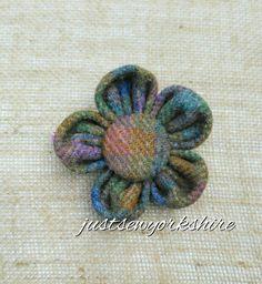 Handmade Harris Tweed Fabric Flower Brooch by JustSewYorkshire