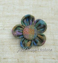 Handmade Harris Tweed Fabric Flower Brooch by JustSewYorkshire