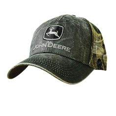 John Deere Waxed Cotton Charcoal Camo Mesh Back Trucker Ball Cap 13080335 bc8f176cf1f4