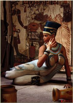 Depiction of Nubian Queen Nefertiti Egyptian Beauty, Ancient Egyptian Art, Egyptian Kings And Queens, Queen Nefertiti, African American Art, Black Art, History, Character, Goddess Warrior