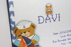 Detalhe de convite infantil para o Davi. #invitation #convite #infantil #kid #teddybear #ursinho