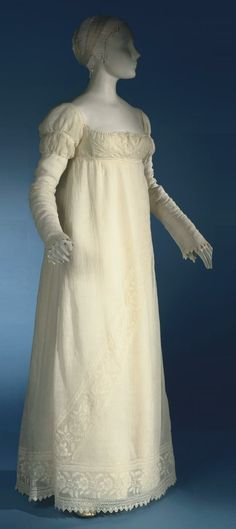 Muslin regency gown with whitework embroidery and Van Dyke points at the sleeves and hem
