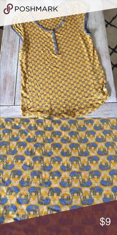 Kenzie elephant top Yellow and gray elephant top Kensie Tops Blouses