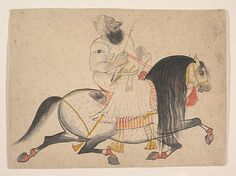 Attributed to Bakhta. Equestrian Portrait of a Noble, ca. 1775. India (Rajasthan, Devgarh). The Metropolitan Museum of Art, New York. Purchase, Florence and Herbert Irving Gift and Rogers Fund, 1997 (1997.359) #mustache #movember