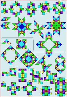 Puzzle avec rondes et carrées tangram - Tangram Combinaisons - P7