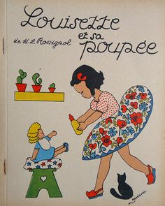 ancien livre enfant Louisette et sa poupée vintage kids book ML Rossignol