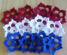 12 Red White Blue Appliques Flowers  Crochet by IreneStitches, $6.00