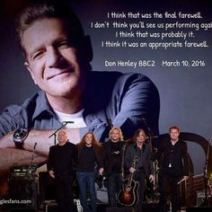 Don Henley speaking today on the BBC…..goodbye Eagles.  #theeagles #donhenley #glennfrey   Glenn & the Eagles will live forever in our hearts & we will never forget.