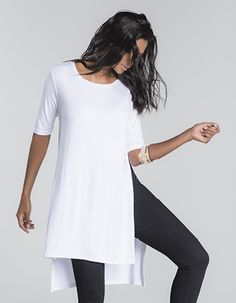 T-shirt tunic with slits