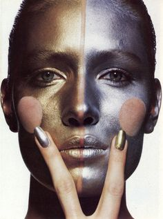 """""""Precious Metals"""" photographed by Irving Penn for Vogue US May 1985 Hair & Makeup: Rick Gillette"""