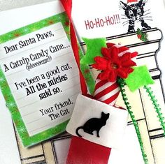 More than a card: A Catnip Candy Cane in a satin stocking, on a retro fireplace card. It's a keepsake that sends love love love to your best cat-lover. Stark Raving Cat