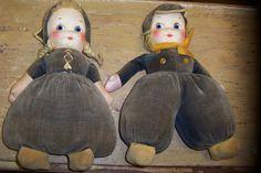 ...vintage Dutch kids dolls - beautiful!  From http://www.etsy.com/listing/111249035/vintage-dutch-kids-dolls-velvet-stuffed?ref=cat2_gallery_34