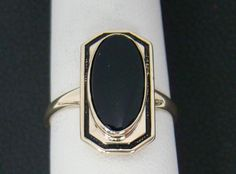 "10K YELLOW GOLD VINTAGE 13.5MM X 6.5MM ONYX .70"" X .38"" RING  2.5g SIZE 6.5 #Solitaire"