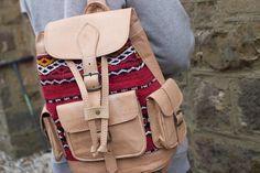 Hecho a mano Kilim mochila de cuero marroquí estilo por MOROCHIC