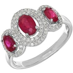 Lord & Taylor 14K White Gold  and Diamond Ring, 0.264 TCW ($750) ❤ liked on Polyvore featuring jewelry, rings, ruby, 14k ring, fine jewelry diamond rings, fine jewellery, diamond fine jewelry and sparkle jewelry