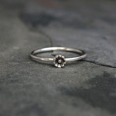 Tiny Flower Ring Sterling Silver Stackable Ring One by KiraFerrer