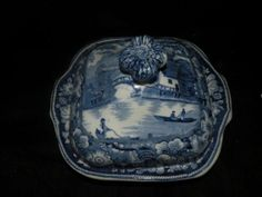 ANTIQUE STAFFORDSHIRE BLUE AND WHITE TRANSFERWARE WILD ROSE COVERED VEGETABLE- serveware