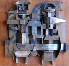 Villa,Edoardo | The Family | Steel on wood | Code: 9087 | 485 x 510mm | Sold Italian Army, Steel Sculpture, North Africa, Artist Painting, Art School, Villa, African, Gallery, Wood