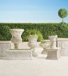 Inspired by the romantic grandeur of historical Provencal gardens, our eye-catching, all-weather planters feature gorgeously detailed designs including botanical motifs, ribbon laurels and artfully molded rims. The sturdy pulverized stone and polyresin construction ensures it will be a staple for showcasing flowers, grasses and topiaries for years to come. Trough Planters, Outdoor Planters, Outdoor Decor, Garden Urns, Lawn And Garden, Hand Molding, Furniture Placement, Grand Entrance, Luxury Home Decor