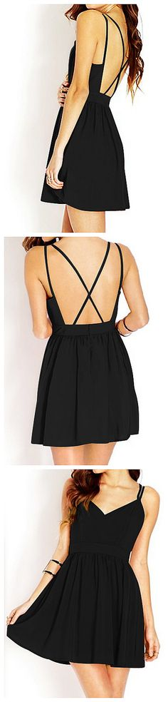 Crisscross Cutout Back Dress - little black dress for party or summer outfit