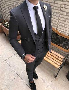 İtalyan style puantiyeli gri yelekli erkek takım elbise T1734