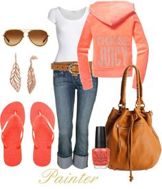 """Casual Peach"" by mels777 on Polyvore"