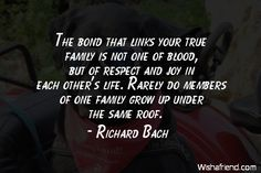 Richard Bach Quote: The bond that links your true family is not one of blood, but of respect and joy in each other's life. Rarely do members of one family grow up under the same roof.