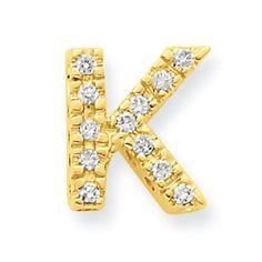 14k Yellow Gold Diamond Initial K Charm. - http://www.specialdaysgift.com/14k-yellow-gold-diamond-initial-k-charm/