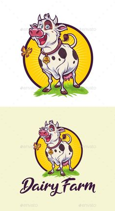 Cartoon Happy Cow - Dairy Farm Mascot Logo - Animals Logo Templates Get it now!! #logo #designlogo #logos #logodesign #logopremium #brand #branding #business #company #abstract #creative #mascot #designoflogo #thelogo #thedesign #logotemplate #print #logocompany #logoesport #logoanimal #logoabstract #envato #envatomarket #graphicriver #premiumdesign #creativemarket #freepik #shutterstock #behance #dribbble