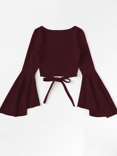 Wrap shirt with flounce sleeves is part of Outfits - Wickelshirt mit Volantärmeln SHEIN Wrap shirt with flounce sleeves Shein Girls Fashion Clothes, Teen Fashion Outfits, Mode Outfits, Cute Fashion, Look Fashion, Girl Fashion, Girl Outfits, Fashion Dresses, Fashion Jobs