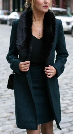 emerald green coat with fur removable collar and black piping, coordinating pencil skirt, black camisole, hoop earrings #classicstyle