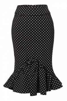 What to Wear with a Black and White Polka Dot Skirt | Bunny - Momo pencil skirt Black White polka dot frill bow