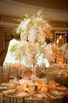 Gorgeous orchid centerpieces.