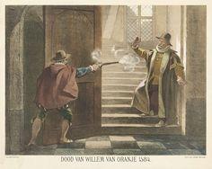 Hendrik Albert van Trigt | Moord op Willem van Oranje, 1584, Hendrik Albert van Trigt, Johannes Ykema, Samuel Lankhout & Co, 1850 - 1899 | De prins van Oranje te Delft vermoord door Balthasar Gerards, 10 juli 1584. Willem van Oranje wordt staande op de trap geschoten door Balthasar Gerards.